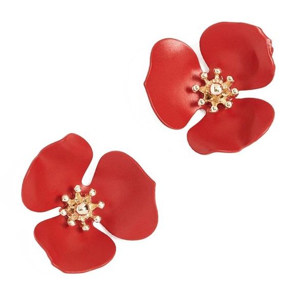 Anthropologie Red Dogwood Flower Post Earrings